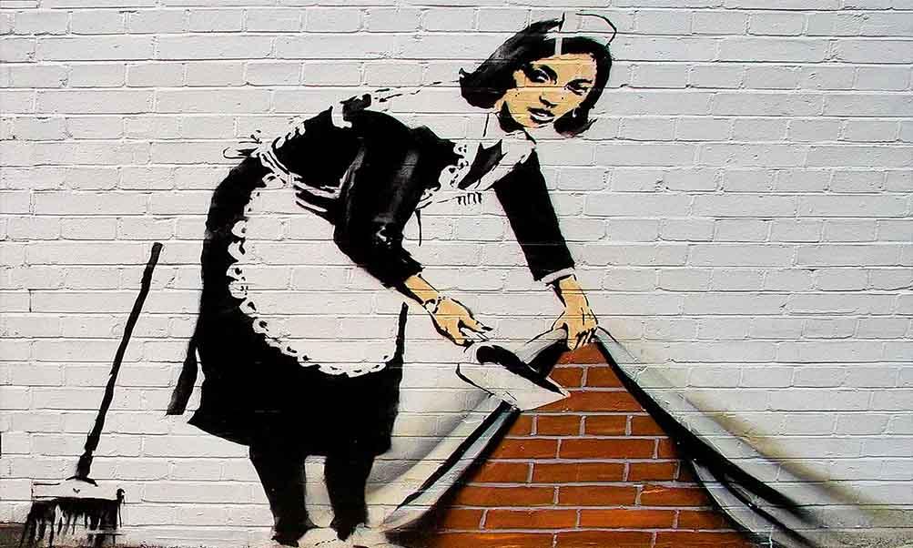 Banksy es uno de los artistas urbanos más destacado por sus obras callejeras reivindicativas