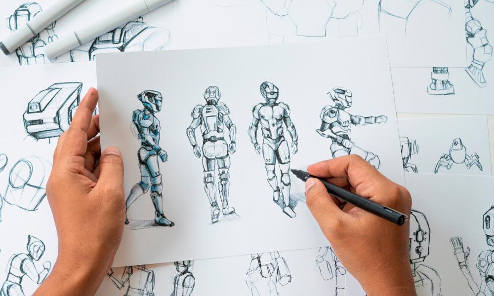 En el equipo de diseño de videojuegos se necesitan dibujantes para la creación de escenarios y personajes.